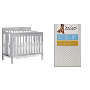Dream On Me 4 In 1 Aden Convertible Mini Crib With Dream On Me 3 Portable Crib Mattress Grey In 2020 Crib Mattress Portable Crib Mini Crib