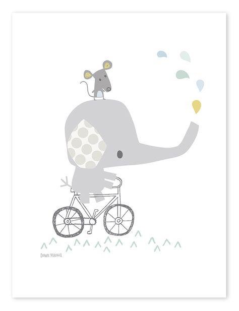 Lilipinso Kinderzimmer-Poster 'Elefant auf Fahrrad' weiß/grau/bunt 30x40cm - im Fantasyroom Shop