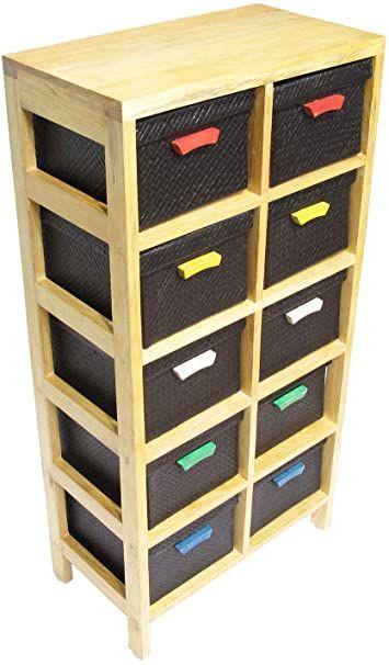 Solid Wood Kids Toy Storage Organizer With 10 Pandan Bins Natural Black In 2020 Toy Storage Organization Kid Toy Storage Stuffed Animal Storage