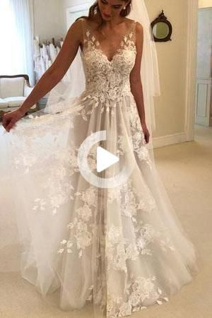 Elegant A Line V Neck Tulle Open Back Ivory Wedding Dresses With Lace Appliques In 2020 Ball Gowns Wedding Wedding Dresses Uk Applique Wedding Dress