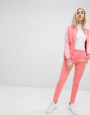 adidas Originals Three Stripe Track Jacket & Pants In Pink