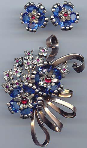 Pennino pin and earrings