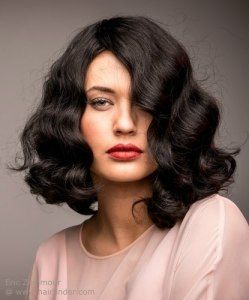 Vintage Inspired Shoulder Length Bob Hairstyle With Waves Medium Hair Styles Finger Wave Hair Hair Waves