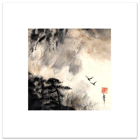 B1 Serie Carre Zen En Couple La Peinture Zen Ou Sumi E