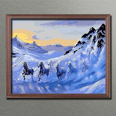 Malen Nach Zahlen Tier Pferde Im Schnee Malennachzahlen