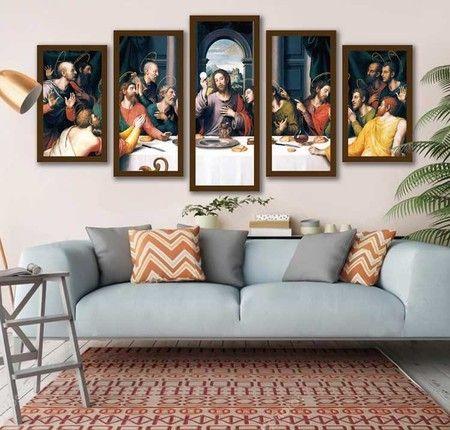 Mosaico De Quadros Santa Ceia Decoração De Parede Sala De Jantar Quadros Para Sala Santa Ceia Quadro