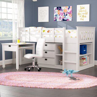 Mack Milo Angelica Twin Low Loft Bed With Shelves And Drawers Colour Snow White In 2020 Low Loft Beds Twin Loft Bed Kid Beds
