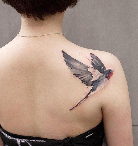 watercolor swallow tattoo © tattoo artist chenjie.newtattoo ❤🐦❤🐦❤🐦❤🐦❤