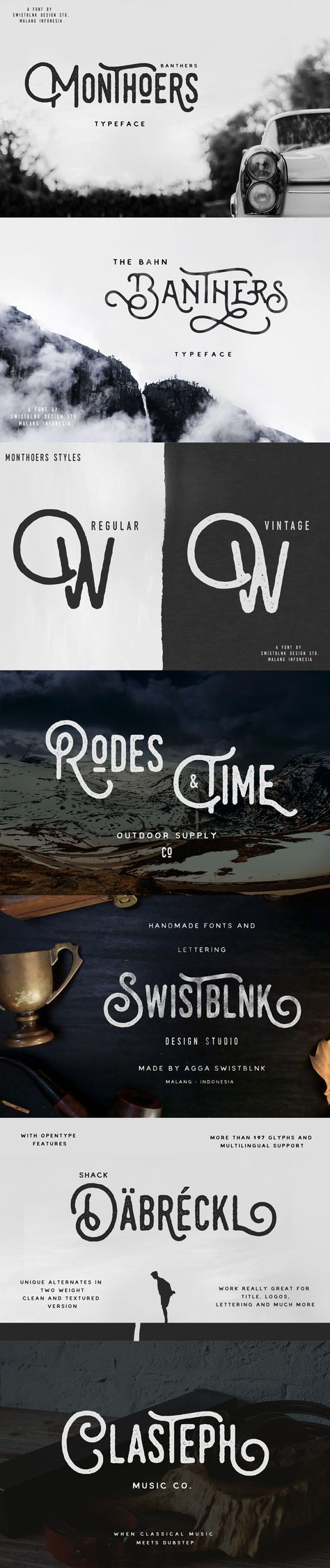 Monthoers is #handmade modern #vintage #textured display #typefaces, which is combining the style of classic #typography with an modern #handlettering style.