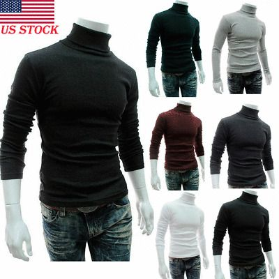 Mens Thermal Underwear T-shirt Tops Long Sleeve High Neck Pullover Under Shirts