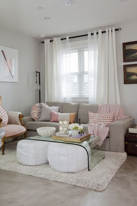 Gray & Pink Living Room with white poufs under glass coffee table - Jillian Harris's Home