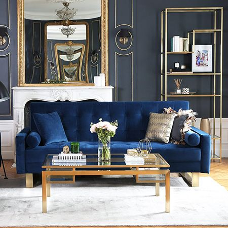 The Chic Classic Glamour Of Navy Blue And Gold Homeandeventstyling Com Gold Living Room Blue Living Room Velvet Sofa Living Room