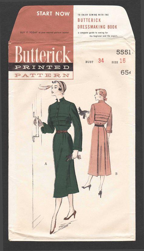 Vintage 1950s Dress Pattern · Horizontal Tuck Pleated Dress Sewing ...