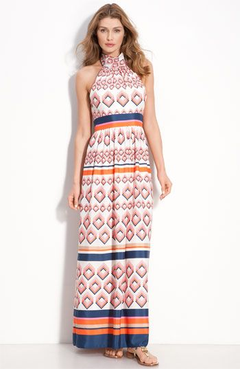 Eliza J Tie Neck Maxi Dress available at Nordstrom