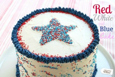 Red, White and Blue 4th of july cake @createdbydiane with Star