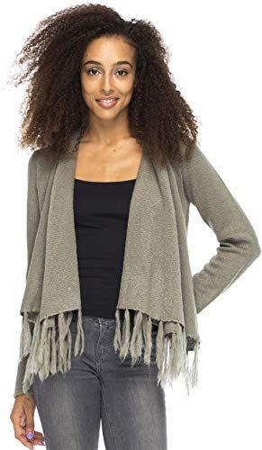 Back From Bali Womens Long Sleeve Winter Cardigan Wrap Knit Boho Cowl Neck Fringe