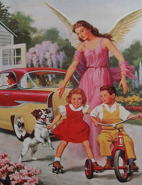 1950s VINTAGE POSTCARD Angel with Children On Bike and Dog TACKY KITSCH by Christian Montone, via Flickr