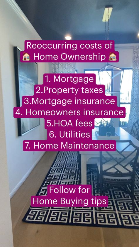 Reoccurring costs of  🏠 Home Ownership 🏠  #homebuyingtips  #financetips #howtobuyahome