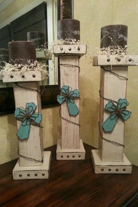 DIY rustic candle pillars - these are growing on me...I think...