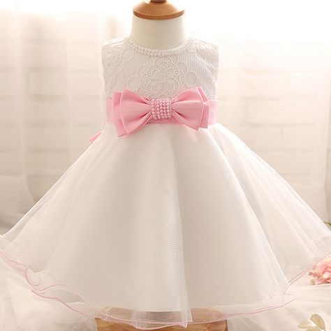 37dde63f0160 Promotion price 0-2Year Baby Girl Dress Newborn White Princess Dress ...