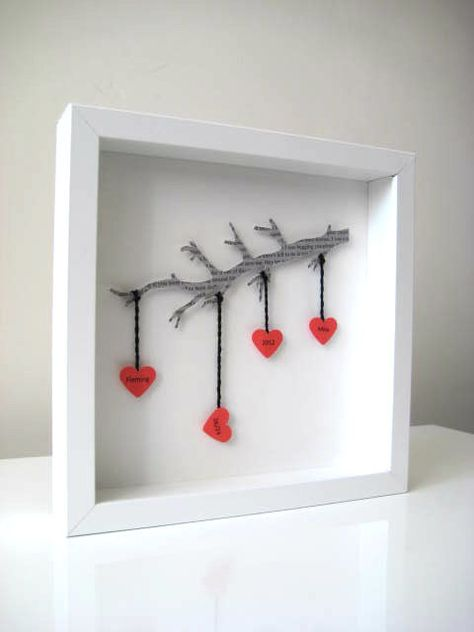 Personalized Wedding Gift - Commemorate Wedding Gift 3D Wedding Paper Work - Red Hearts - White Framed on Etsy, $65.00