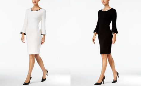 a9e03eaf21a25 Calvin Klein Two-Tone Bell-Sleeve Sweater Dress - Dresses - Women - Macy s