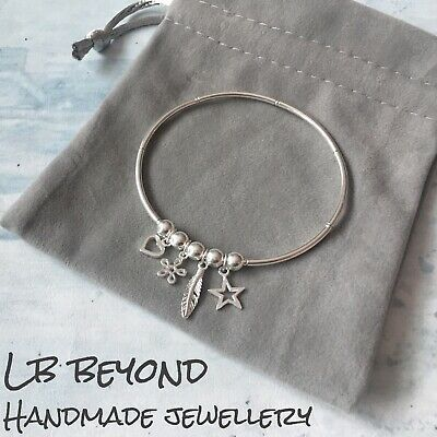 Sterling Silver Bracelet Stretch Stacking Charm Bracelet Boho Noodle Bead