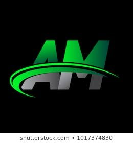 Initial Letter Am Logotype Company Name Colored Green And Black