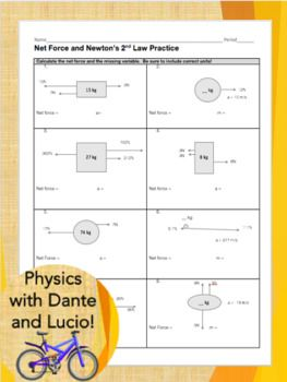Net Force and F=ma practice worksheet | Worksheets, Physics ...