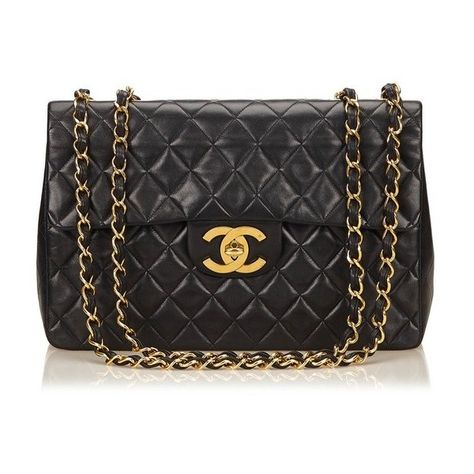 60a211abc53dfb Vintage Chanel Maxi Lambskin Classic Flap Bag ($4,055) ❤ liked on Polyvore  featuring bags, handbags, shoulder bags, black, quilted chain strap  shoulder bag ...