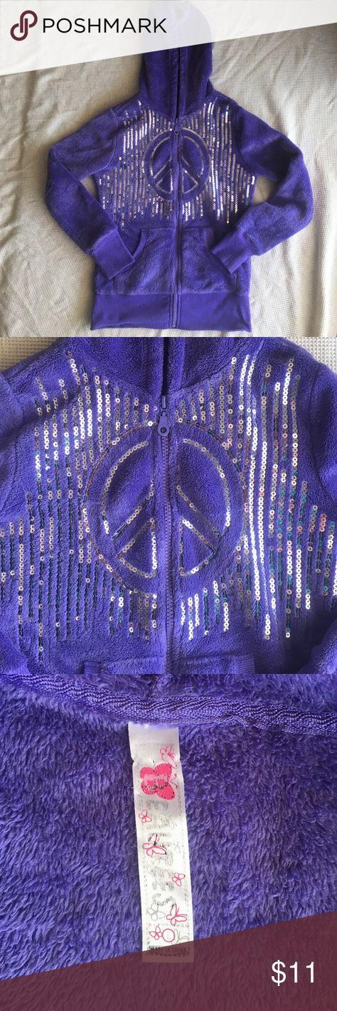 Purple Beautees zip up hoodie Purple zip up hoodie. Sequined design on front. Beautees Shirts & Tops Sweatshirts & Hoodies