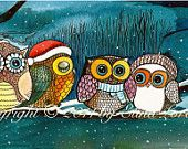 Winter Sale Owls in the snow Art Print gift under 20 via Etsy