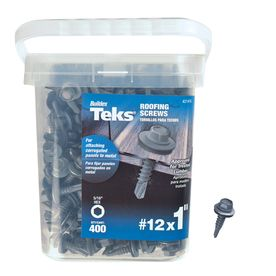 Teks 12 X 1 In Zinc Plated Zinc Plated Self Drilling Roofing Screws 400 Count Lowes Com Roofing Screws Zinc Plating Roofing