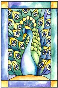 Peacock Stained Glass Cling Stampbr(Click to see card sample)