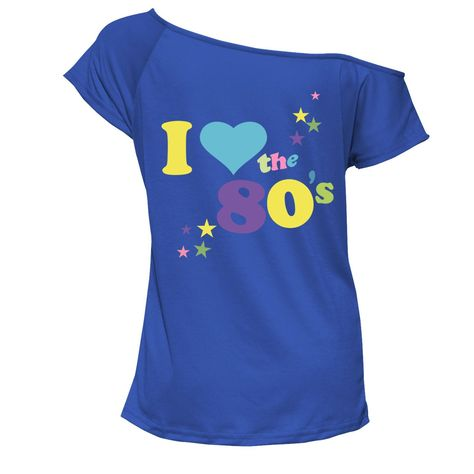 I Love The 80s T Shirt Short Sleeves  Womens Retro Pop Star Tees Top Ladies