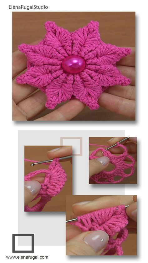 Crochet Flower Tutorial, Crochet Flower Patterns, Crochet Motif, Crochet Designs, Crochet Flowers, Knit Crochet, Crochet Stitches For Beginners, Crochet Videos, Crochet Crafts