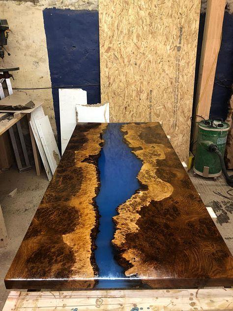 Epoxy Fluss Couchtisch Live Rand Couchtisch Epoxidflus Tisch