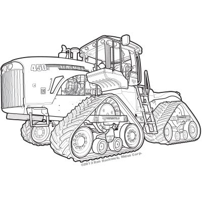 A Technical Illustration Of A Versatile 450 Tractor Done In Adobe Illustrator Technical Illustration Tractors Tractor Drawing