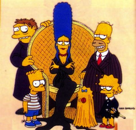 the simpsons television cartoon the addams family parody comics comic books Homer Simpson, Die Addams Family, Adams Family, Famous Fictional Characters, Cartoon Characters, Comedy Cartoon, Futurama, The Simpsons, Funny Cartoons