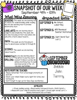 Editable Weekly Newsletters Snapshot Of Our Week Classroom Newsletter Template Classroom Newsletter School Newsletter