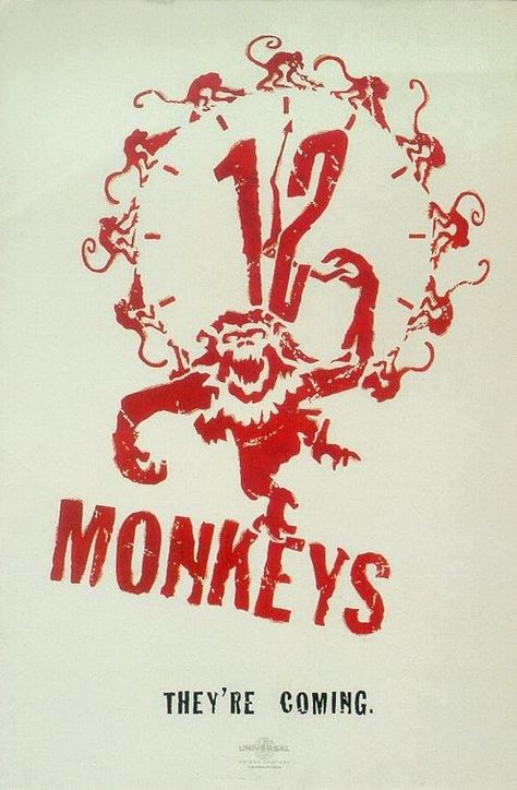 #12Monkeys - 1995 science fiction film directed by Terry Gilliam and starring Bruce Willis and (in a mad and excellent role), Brad Pitt.