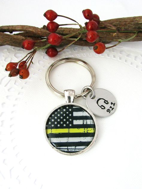 The Thin Gold Line US Flag Image Keychain with 911 by JulessJewels