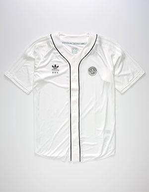 ADIDAS Mens Baseball Jersey White | Streetwear outfit, Mens ...