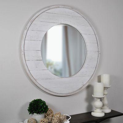 Ellison Shiplap Round Mirror Shiplap Accent Wall Mirror Decor Mirror Wall