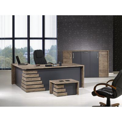 Orren Ellis Whitewood Modern 3 Piece L Shaped Desk Office Suite