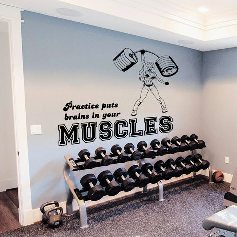 Gym decor girl fitness vinyl sticker wall art in products