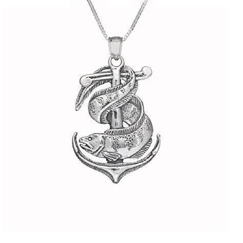 Sterling Silver Anchor w// Eel Pendant 18 Italian Box Chain Made in USA