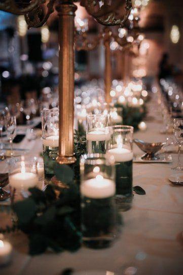Romantic Wedding Centerpiece Idea Gold Details And Votive