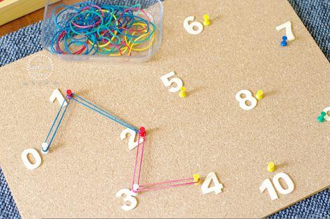Juego muy original con una pizarra de corcho para aprender secuencias numéricas