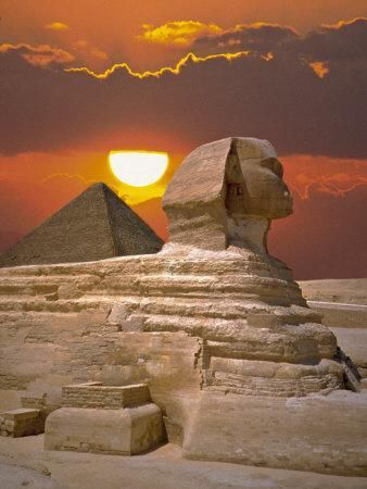 Egyptian Pyramids at Sunset Framed Print Archaeology Giza Picture Poster Art